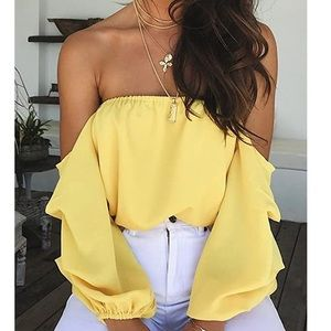 - Gorgeous Yellow off shoulder Top